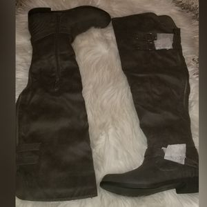 Over the Knee Boots - Gray Suede - Brand New